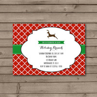 Christmas Reindeer Silhouette Holiday Brunch Invitations