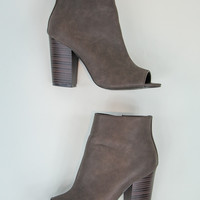 Peep-Toe Bootie in Brown