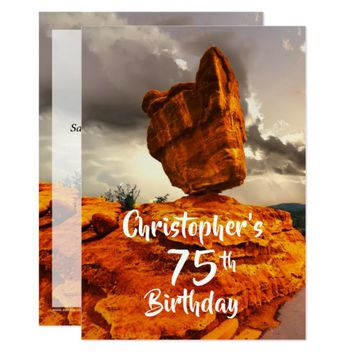 75th Birthday Party Invitation, Balanced Rock Card