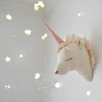 INS Toys Unicorn Head Wall Mount Cute Animal Heads Wall Hanging 3D Wall Decor Artwork for Kids Room Stuffed Toys Christmas Gifts