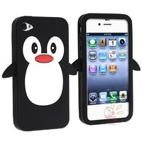 Everydaysource Compatible With Apple¨ iPhone¨ 4/4S Penguin Skin Case , Black