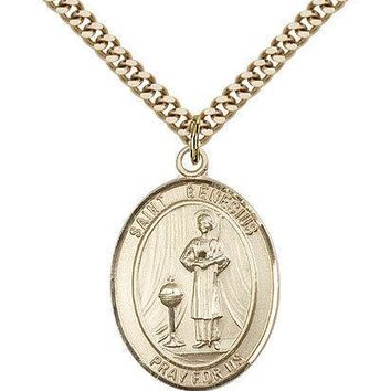 "Saint Genesius Of Rome Medal For Men - Gold Filled Necklace On 24"" Chain - 30..."