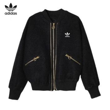 DCCKXT7 Adidas' Women Casual Fashion Embroidery Sequin Wing Long Sleeve Zip Cardigan Woolen Jacket Coat