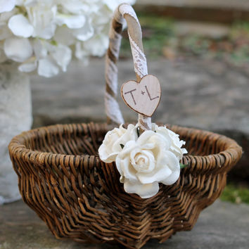 Rustic Flower Girl Basket Personalized, 3 Paper Roses and Tea Dyed Lace