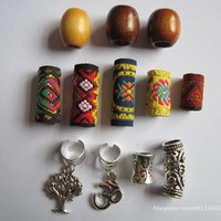 Free shipping 12Pcs/Lot mix wooden metal fabirc hair braid dread dreadlock beads clips cuff