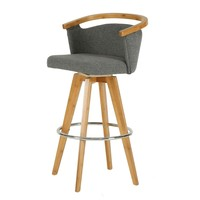 Luca Fabric Bamboo Swivel Bar Stool Stokes Gray