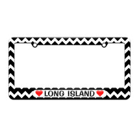 Long Island Love with Hearts - License Plate Tag Frame - Black Chevrons Design