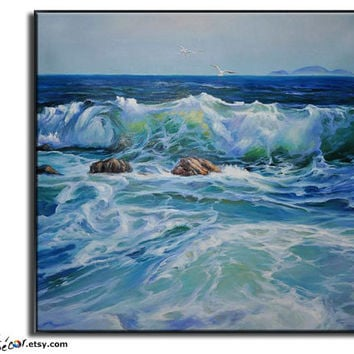 Original Oil Painting, Landscape Oil Painting, Seascape Painting, Original Art Canvas Art Wall Art, Canvas Painting Ocean Art,