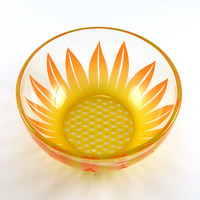 Glass Bowl - Wildflower -  Sunshine Orange and Yellow - Custom Painted and Etched Glassware