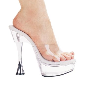 Clear Mule Platform With 6 Inch Silver Cone Heel Stripper Shoes