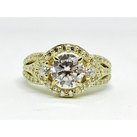 A Perfect 1.3CT Round Cut Russian Lab Diamond Engagement Ring