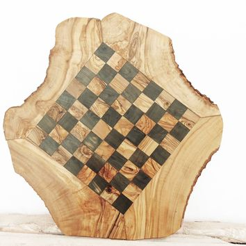 Rustic Olive Wood Chess Board, Custom Engraved Monogrammed Wooden Chess Set Game 17.7 Inch, Dad gift
