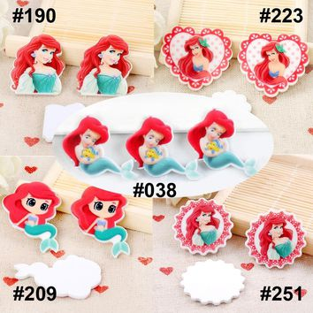 50pcs Mixed The Little Mermaid Ariel Flatback Resin Planar Cartoon Character DIY Resin Craft for Home Decoration Accessories