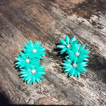 1960's Green Blue Aqua Soft Plastic and Clear Rhinestone Flower Clip On Earrings Retro Mod Costume Jewelry
