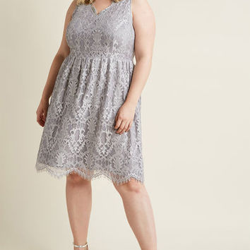 V-Neck Lace Fit and Flare Dress in Smoke