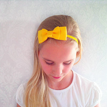 Yellow Baby, Child Headband, Stretchy Bow Headband, Fashion Hair Accessories, Shabby Chic, Infant Headband, Newborn, Baby Gift Ideas.