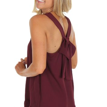 Bow Back Tank Maroon