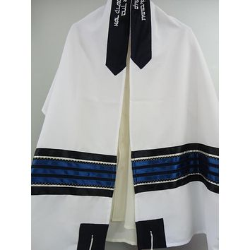 Dark Blue Jewish Prayer Shawl Tallit for men, Bar Mitzvah Tallit