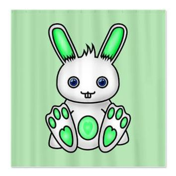 Kawaii Mint Green Bunny Shower Curtain> Green Illustration Gifts> Hippy Gift Shop Funky Hippie Gifts
