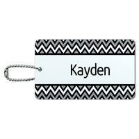 Kayden Black and Grey Chevrons ID Card Luggage Tag