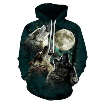 Howling Wolf Pack Moon Wolves All Over Print Space Galaxy Stars Hoodie Sweater