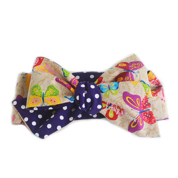 Butterfly Bow for baby girl & toddler // Handmade headwrap, turban, headband, pony tail. Oversized, cute, hair accessory for your princess!