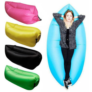5 Colors Fast Inflatable Lazy Sleeping Sofa Bed Festival Camping Hiking Travel Hangout Beach Bag Bed
