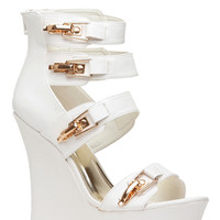 White Faux Leather Gold Accent Strap Wedges