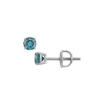 Blue Diamond Stud Earrings : 14K White Gold – 0.25 CT Diamonds