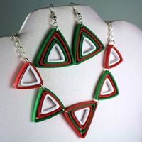 Christmas Jewelry Set Paper Quilling Triangles