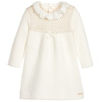 Baby Girls Ivory Knitted Dress with Frill Collar