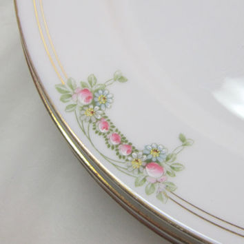 Vintage Floral Dinner Plates Pink Green Roses Gold Rimmed Dinner Plates German China Dinner Plates Mix and Match Dinnerware  Large Plates