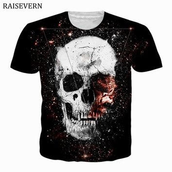 52165d812 Anime T-shirt graphics RAISEVERN 3D Print Skull T Shirt Men Wome