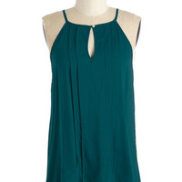 ModCloth Mid-length Spaghetti Straps Style a Minute Top in Teal