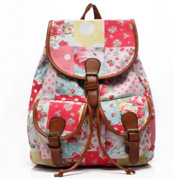 Cute Floral Painting Large College Backpacks for School Bag Canvas Daypack Travel Bag