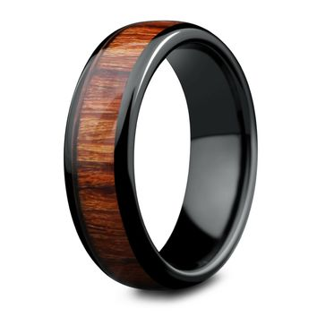 Classic Black - Polished Ceramic Wooden Ring (6mm Width)
