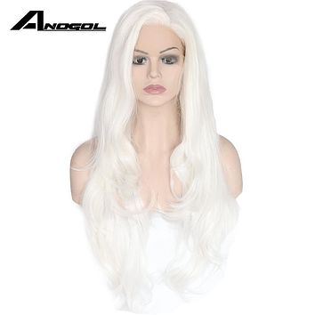 Anogol Long Natural Wave High Temperature Fiber Side Part White Synthetic Lace Front Wig For Women