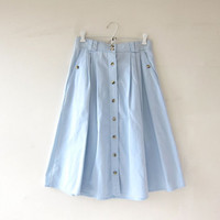 Vintage Light Wash Blue Skirt. Mini Length Skirt. Button Front Skirt. High Waist Skirt. Bohemian Preppy.