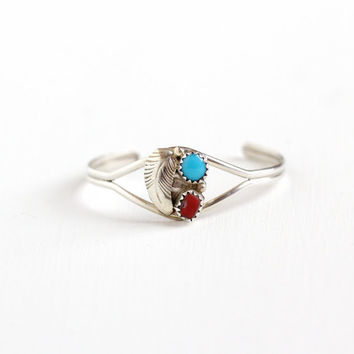 Vintage Child's Sterling Silver Turquoise & Coral Cuff Bracelet - Retro 1960s Red and Blue Gem Southwestern Leaf Motif Boho Tribal Jewelry