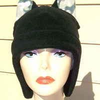 Black hat Kitty hat Geekery  Black and camo  Accessory for men or women