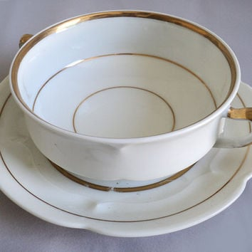 Haviland France White Bouillon Pot Gravy Sauce Boat Double Handle Teacup and Saucer Cream Soup Bowl White Golden Porcelain Gilt RimTableware