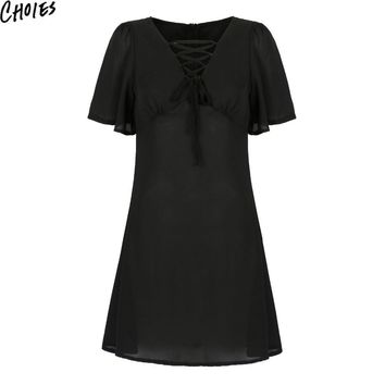 Women Black V Neck Lace Up Front Sexy Flared Sleeve Vintage A Line Mini Dress New Fashion Boho Cut Out Slim Summer Clothing