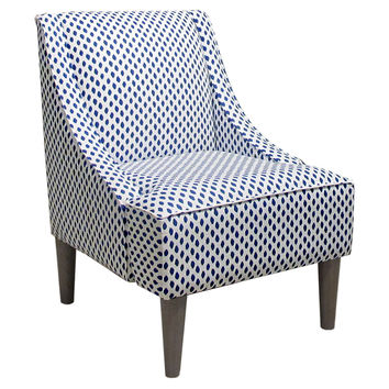 Quinn Swoop-Arm Cotton Chair, Blue/White, Accent & Occasional Chairs