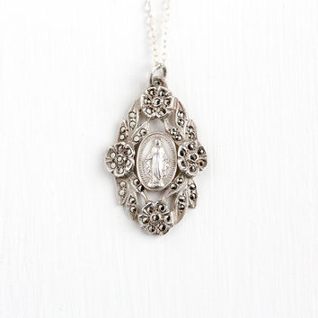 Vintage Sterling Silver Mother Mary Miraculous Medal Pendant Necklace - 1930s Art Deco Marcasite Flower Religious Double Sided Jewelry Charm
