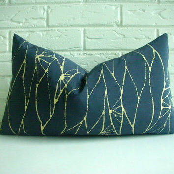 Decorative Throw Lumbar Pillow Cushion Cover - Repurposed Vintage Japanese Silk Kimono - Steel Blue Gray Citrine Yellow - Batik 12 x 20