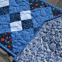 Blue Patchwork Quilted Table Runner Double Four Patch