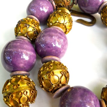 Purple Etruscan Revival Necklace, Ceramic Brass, Massive, Runway, Vintage