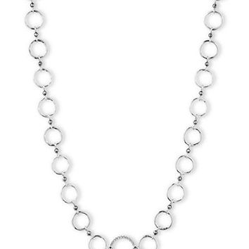 Judith Jack Silver Tone and Crystal Oversized Link Necklace
