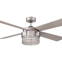 Kendal Lighting Celestra Chrome & Optic Crystal with Silver Blades 52'' Wide Three-Light Ceiling Fan