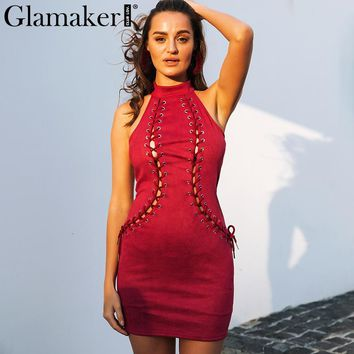 Glamaker Leather suede lace up bodycon dress Women halter sleeveless autumn mini dress Christmas party club red dress vestidos